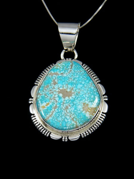 Native American Sterling Silver Number Eight Turquoise Pendant