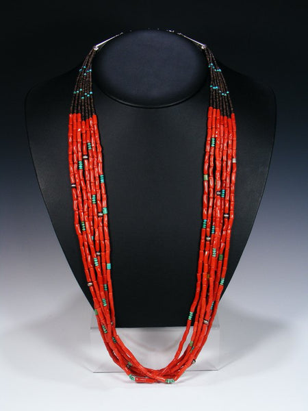 Native American Indian Jewelry Natural Coral Seven Strand Necklace