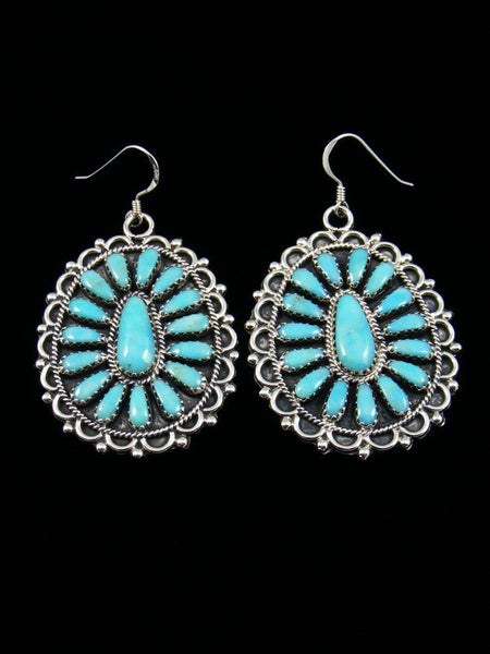 Sterling Silver Turquoise Navajo Dangle Earrings