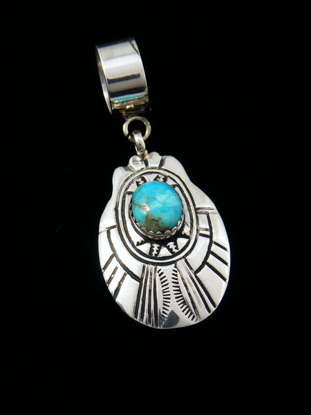 Native American Sterling Silver Overlay Turquoise Pendant