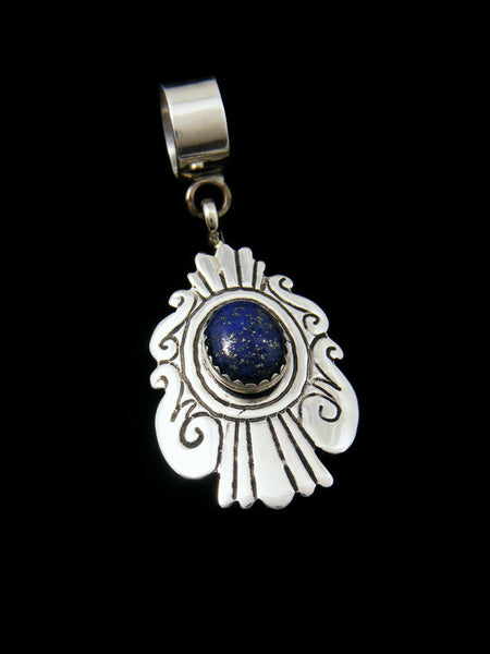 Native American Sterling Silver Overlay Lapis Pendant