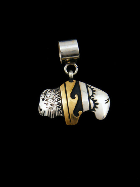 Sterling Silver and Gold Overlay Buffalo Pendant