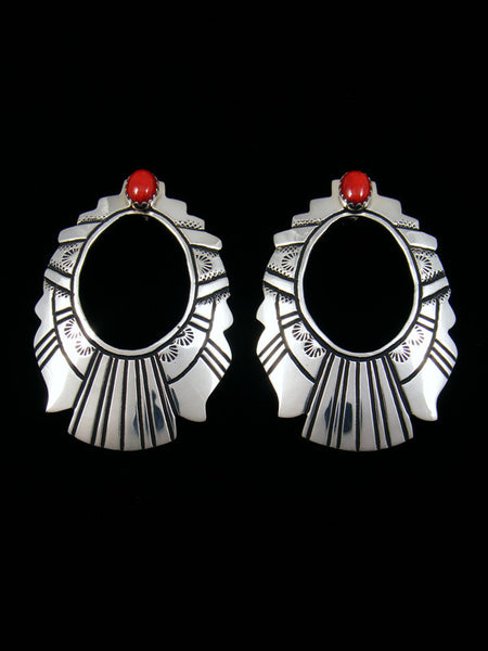 Sterling Silver Coral Overlay Post Earrings