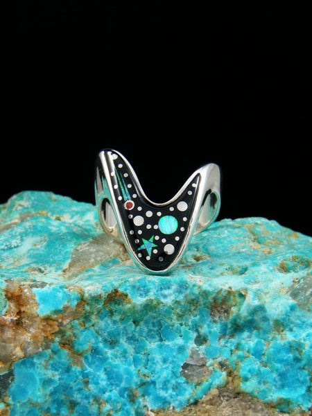 Night Sky Inlay Ring, Size 9 1/2
