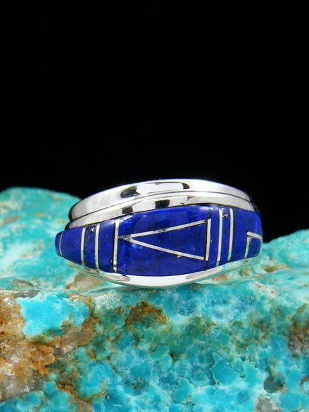Lapis Inlay Ring, Size 7 1/2