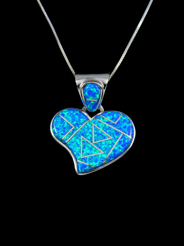 Inlay Blue Fire Opal Heart Pendant