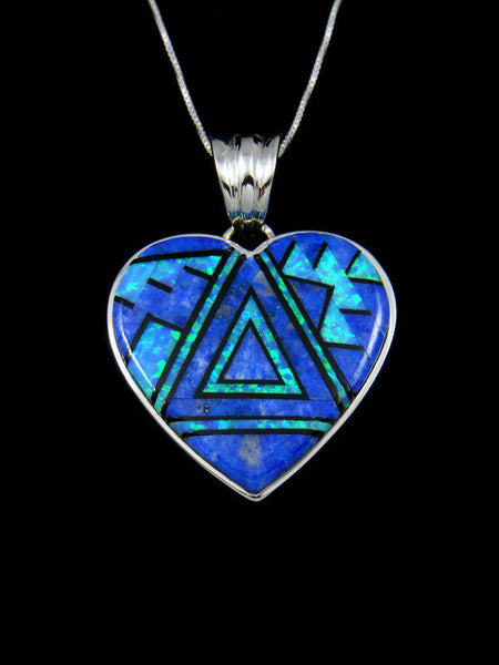 Lapis and Opal Heart Inlay Pendant
