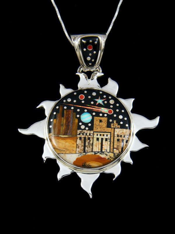 Inlay Night Sky Pueblo Sun Pendant