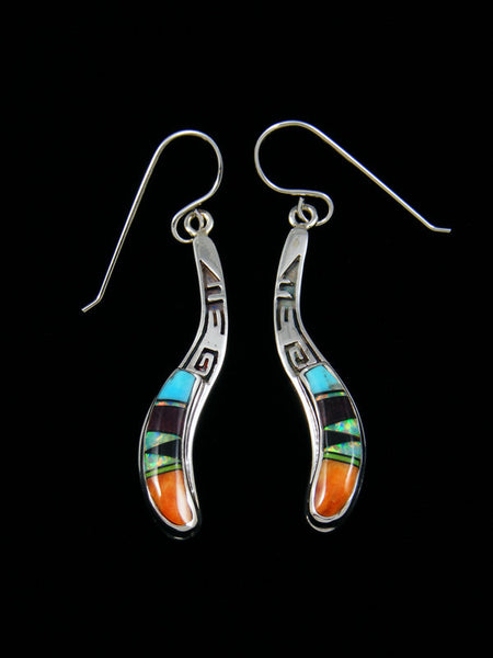 Turquoise and Opal Sterling Silver Inlay Earrings