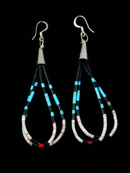 Turquoise Coral and Shell Heishi Earrings