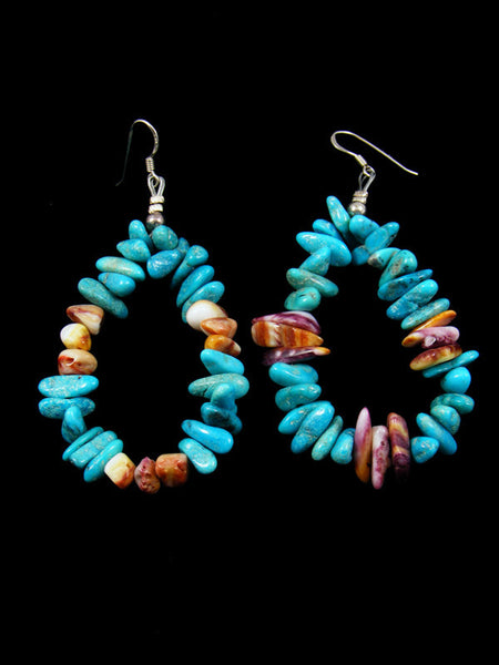Purple Spiny Oyster and Turquoise Dangle Earrings