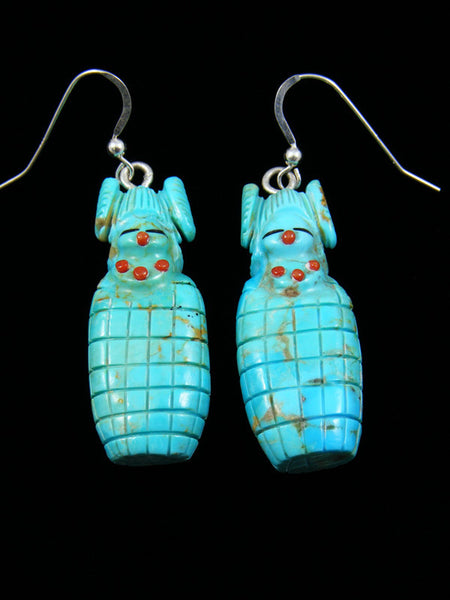 Sterling Silver and Turquoise Kachina Dangle Earrings