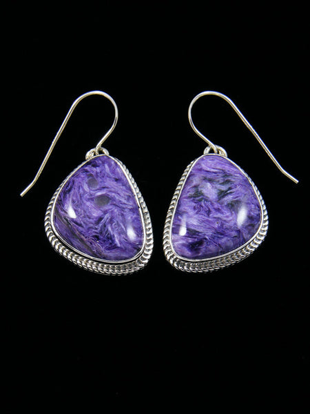 Navajo Sterling Silver Charoite Dangle Earrings