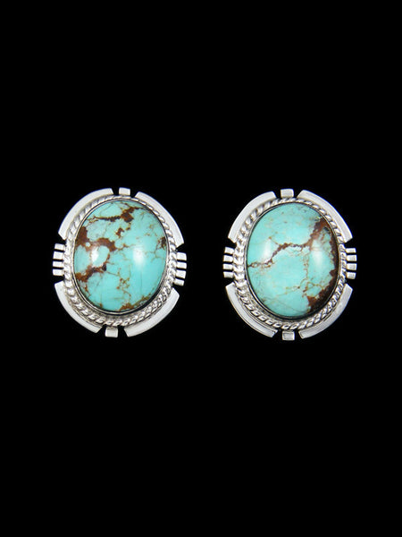Sterling Silver Post Number 8 Turquoise Earrings