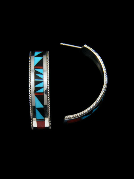Sterling Silver Zuni Inlay Post Hoop Earrings