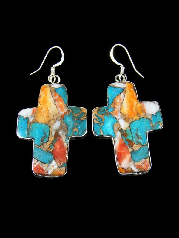 Compressed Turquoise and Spiny Oyster Santo Domingo Cross Earrings
