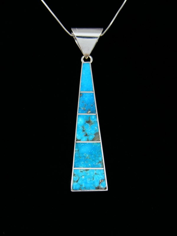 at jewelry turquoise by navajo pendant harold products inlay sterling silver smith