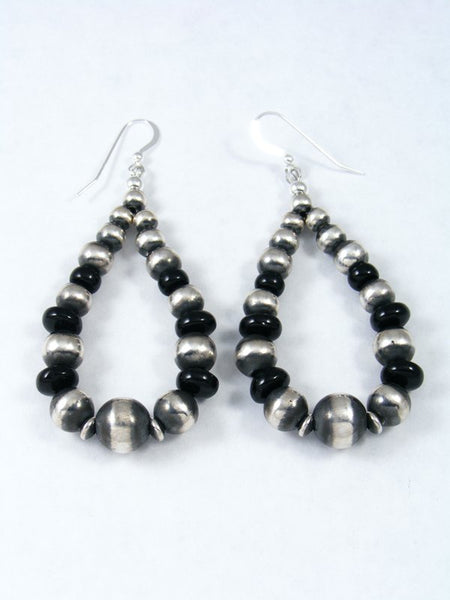 Onyx and Sterling Silver Bead Dangle Earrings