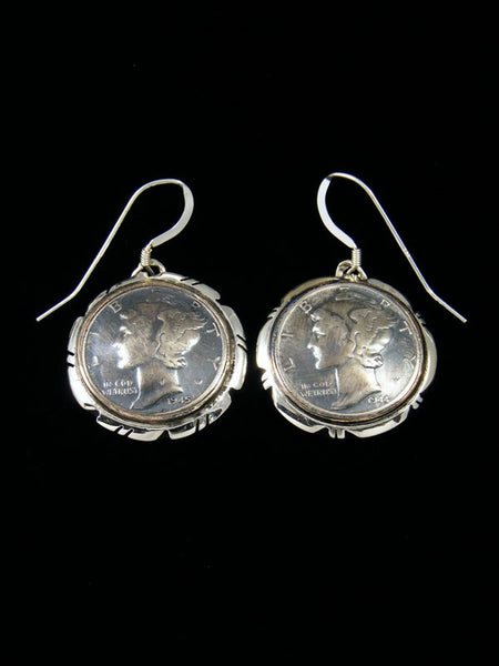 Navajo Winged Liberty Head Dime Sterling Silver Dangle Earrings