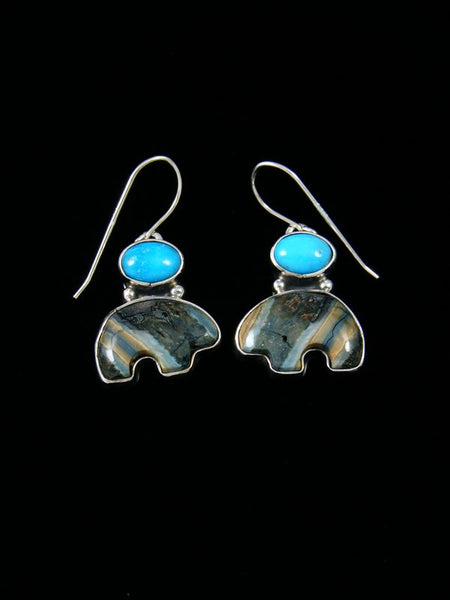 Fossilized Mammoth Tooth and Turquoise Dangle Earrings