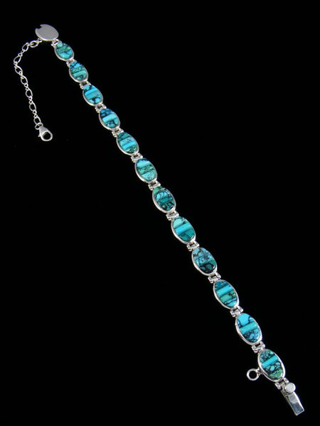 Native American Sterling Silver Blue Moon Turquoise Link Bracelet
