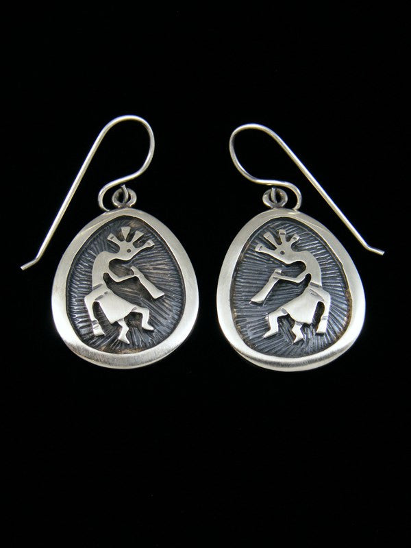 Sterling Silver Kokopelli Dangle Earrings