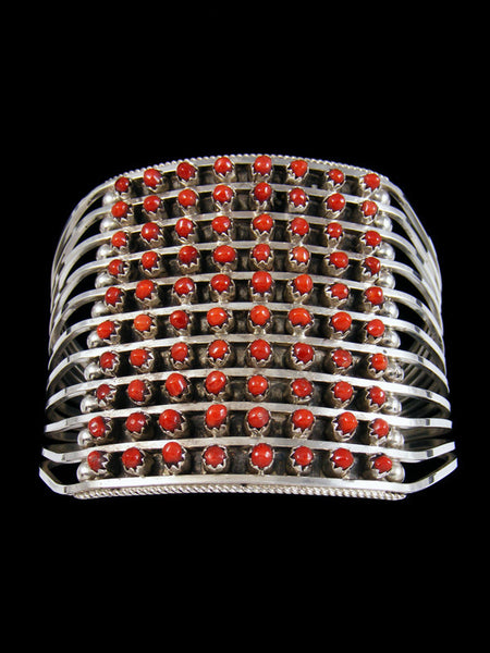 Sterling Silver Coral Zuni Petit Point Row Bracelet