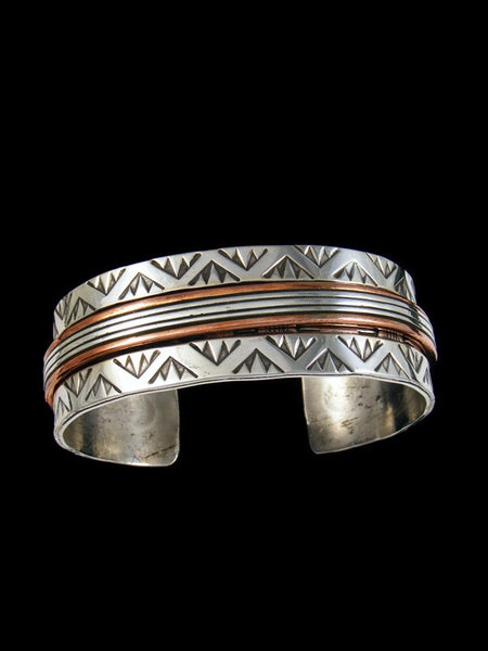 Native American Copper and Sterling Silver Cuff Bracelet