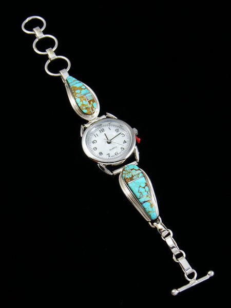 Navajo Indian Jewelry Sterling Silver Ladies' Turquoise Inlay Watch