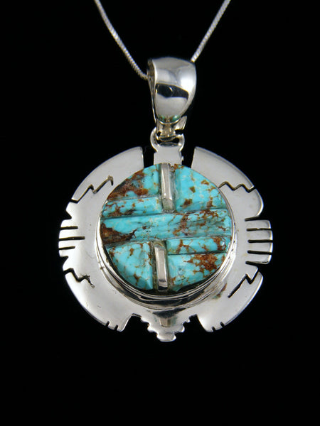 Native American Hand Cut #8 Turquoise Pendant