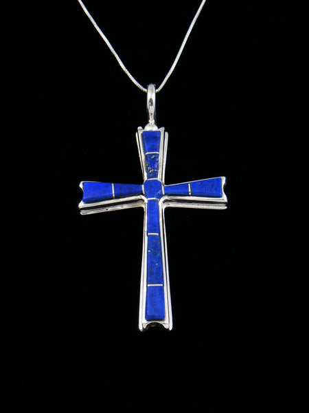 Lapis Cross Inlay Pendant