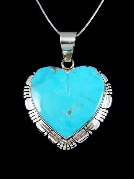 Sterling Silver Navajo Turquoise Inlay Heart Pendant