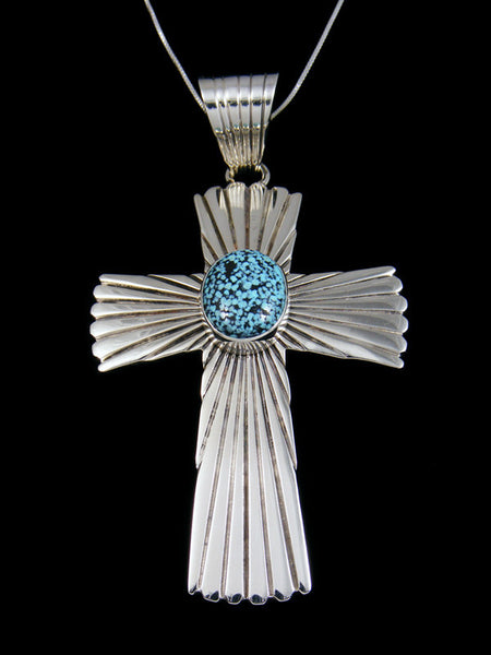 Sterling Silver Kingman Black Web Turquoise Navajo Cross Pendant