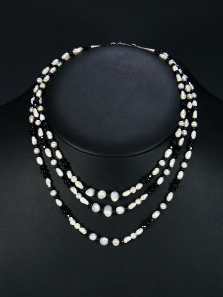 Native American Indian Jewelry 3 Strand Pearl Necklace