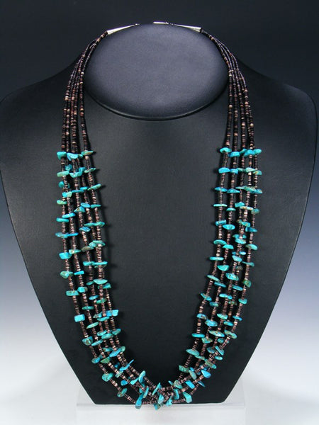 Native American 5 Strand Santo Domingo Turquoise Necklace