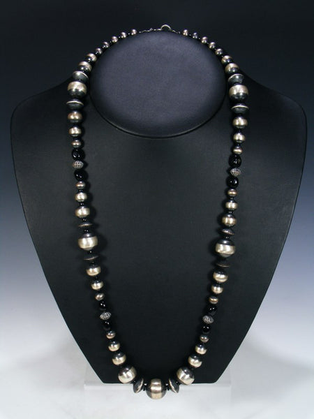Long Native American Onyx and Sterling Silver Bead Necklace