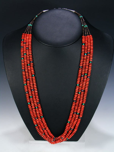 Native American Apple Coral Four Strand Necklace