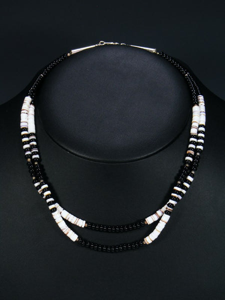 Native American Double Strand Onyx and Shell Heishi Necklace