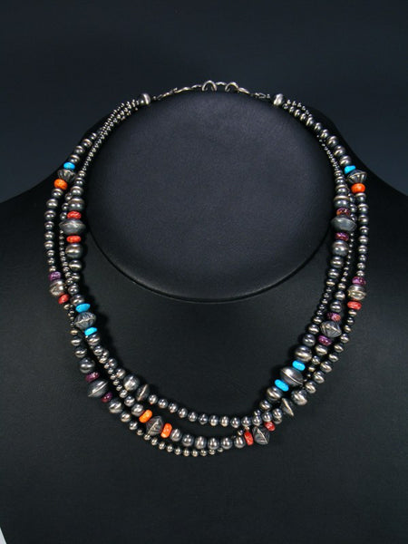 Native American Triple Strand Spiny Oyster and Turquoise Necklace