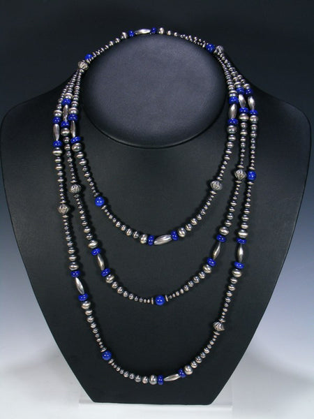 Extra Long Wrap Native American Lapis and Silver Bead Necklace