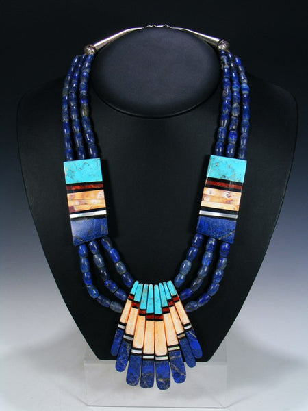 Native American Indian Santo Domingo Lapis Mosaic Necklace