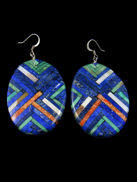Santo Domingo Inlay Earrings by Joe Reano - PuebloDirect.com