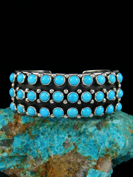 Native American Sterling Silver Natural Turquoise Row Bracelet