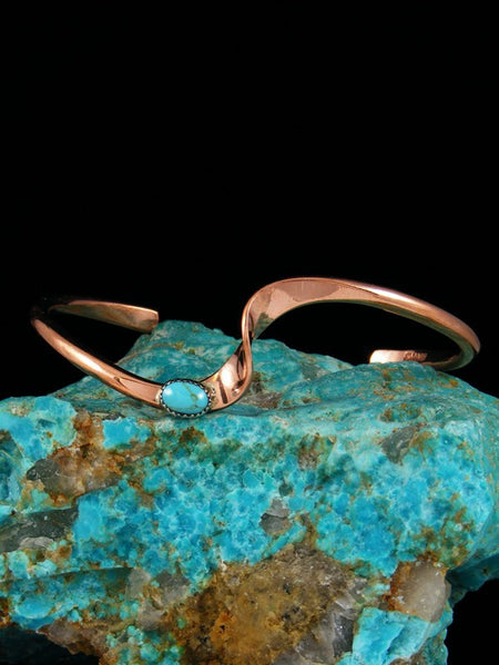 Navajo Copper and Turquoise Wave Bracelet