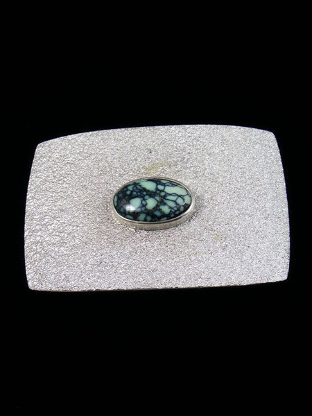 Native American Tufa Cast Turquoise Buckle by Lee Begay - PuebloDirect.com - 1