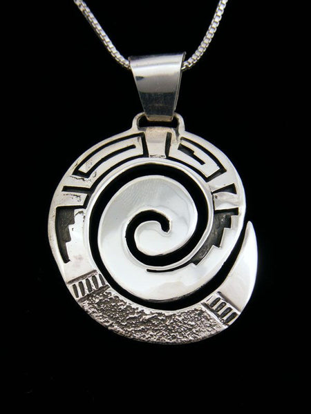 Native American Sterling Silver Pendant by Ambrose Tsosie - PuebloDirect.com
