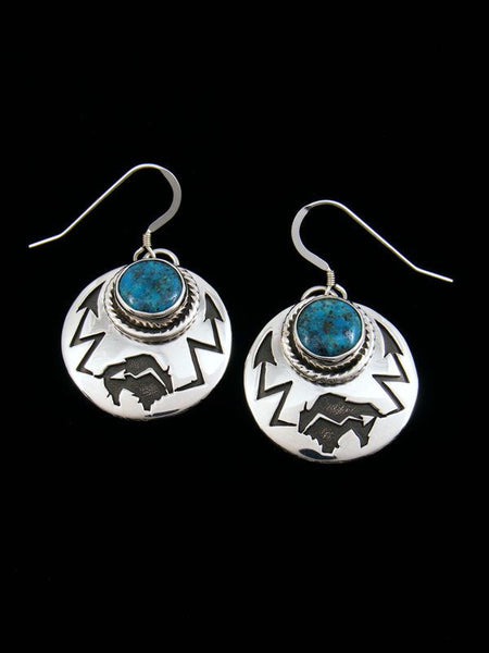 Kingman Turquoise Earrings by Kerah Tsosie - PuebloDirect.com