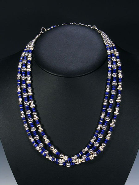 Native American Lapis Necklace by Marilyn Platero - PuebloDirect.com - 1