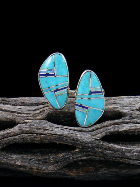 Turquoise and Opal Inlay Ring, Size 7