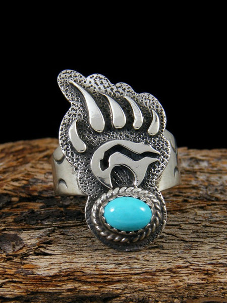 Turquoise Bear Paw Ring, Size 8